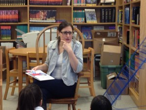 Mrs. Weisz reading to the 4th grade class at Zapata Academy